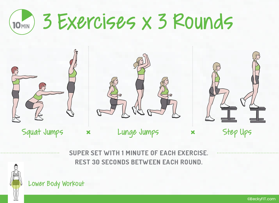 10 Minute 3×3 Lower Body Workout